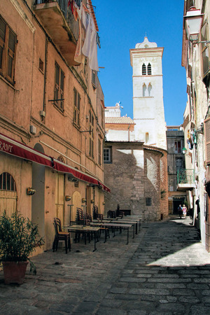 BONIFACIO, CORSE, FRANCE - September 14, 2013: Bell - tower in the Upper city of Bonifacio - PicturesqueCapital of Corsica, France