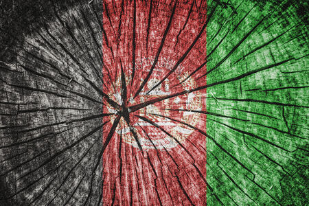 afghan flag: flag of  Afghanistan on cracked wooden texture