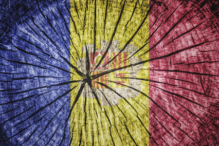 break up: flag of  Andorra on cracked wooden texture