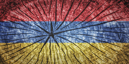 flag of Armenia on cracked wooden texture