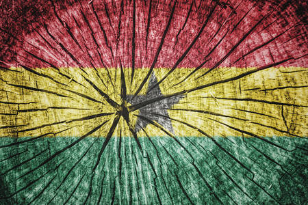 detachment: Flag of Ghana on cracked wooden texture