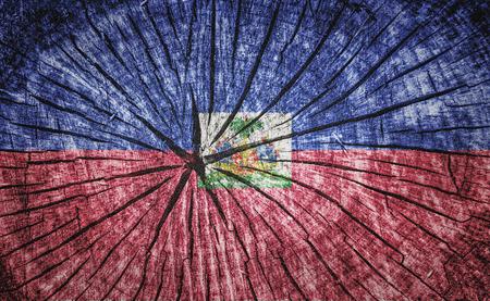 flag of Haiti on cracked wooden texture