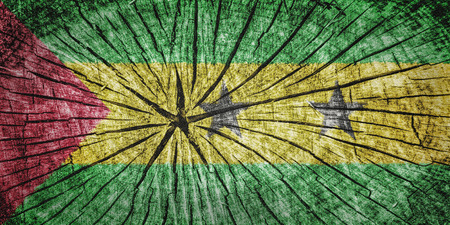 detachment: Flag of Sao Tome and Principe  on cracked wooden texture