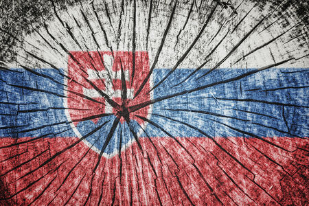 flag of  Slovakia on cracked wooden texture Stock Photo