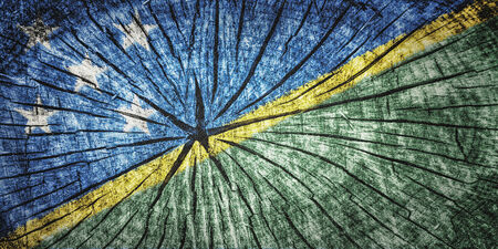 Flag of Solomon Islands on cracked wooden texture