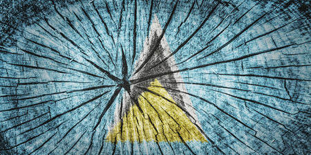 break up: flag of Saint Lucia on cracked wooden texture Stock Photo