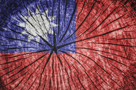 detachment: flag of  Taiwan  on cracked wooden texture