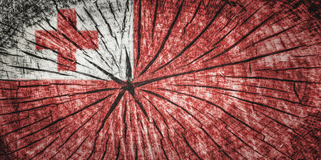 flag of Tong on cracked wooden texture Stock Photo
