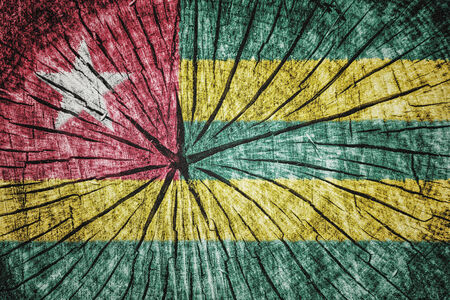 wood cross section: flag of  Togo on cracked wooden texture