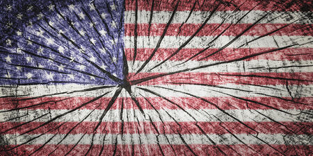 flag of the United States of America  on cracked wooden texture Stock Photo