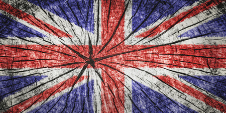 detachment: Flag of the United Kingdom  on cracked wooden texture