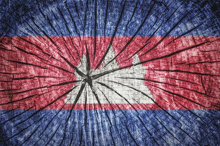 indochina peninsula: Flag of Cambodia on cracked wooden texture Stock Photo