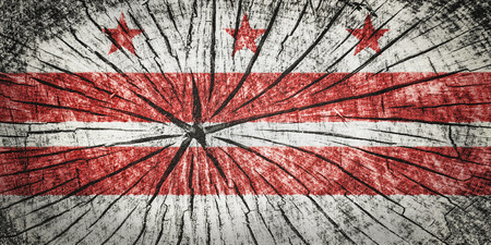 flag of the District of Columbia on cracked wooden texture Stock Photo
