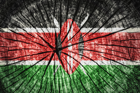 flag of Kenya on cracked wooden texture Stock Photo