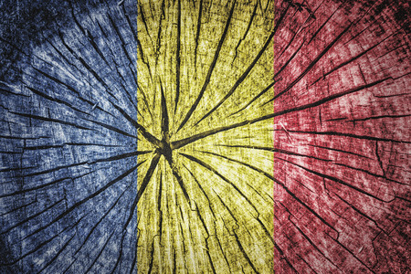 detachment: Flag of Romania on cracked wooden texture Stock Photo