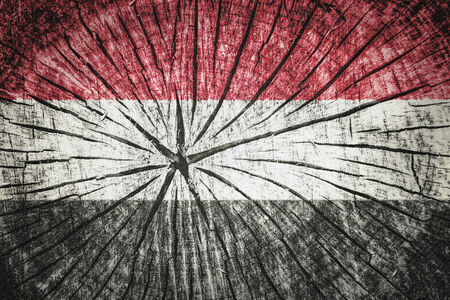 wood cross section: Flag of Yemen on cracked wooden texture