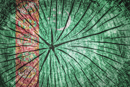 gaz: Flag of Turkmenistan on cracked wooden texture