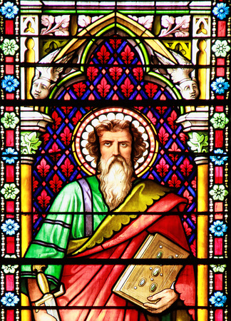 Apostle. Stained glass window in the Cathedral of Meze, South of France