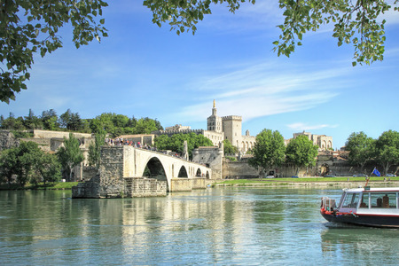 alpes: Famous medieval bridge in the town ofAvignon, in southernFrance. ( from Island of Barthelasse ) Stock Photo