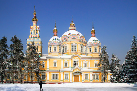 Russian Orthodox cathedral located in Panfilov Park in Almaty, Kazakhstan. Completed in 1907, it is the second tallest wooden building in the world. Stock Photo