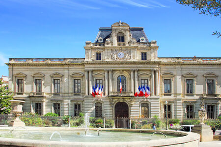 nostradamus: MONTPELLIER, FRANCE - MAY 27, 2014: townhall in Montpellier. Prefecture dating from the 19th Century. Montpellier, France