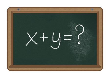 xy: \\\x+y=?\\\ handwritten with white chalk on a chalkboard