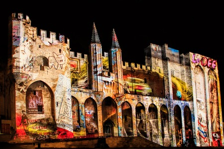 Avignon, spectacle son et lumieres at The Popes Palace