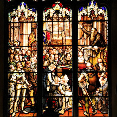 kingdom of heaven: EDINBURGH, SCOTLAND - OCTOBER 02, 2014: Stained glass window in the  St Giles