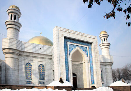 Central Almaty Mosque in Kazakhstan, on winter day Editorial