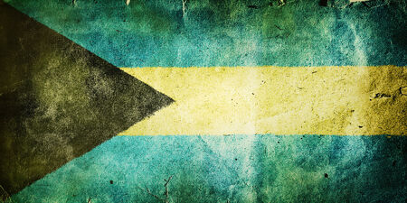 flag of the Bahamas. Old vintage paper texture. photo