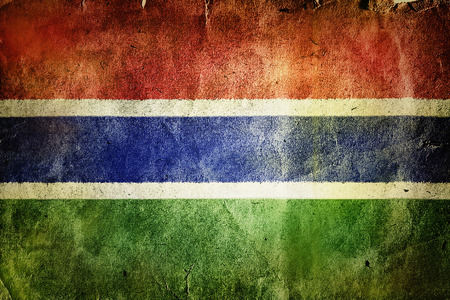 tattered: Flag of the Gambia. Old vintage paper texture.