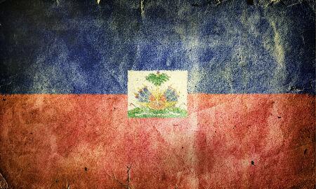 Flag of Haiti. Old vintage paper texture. Stock Photo