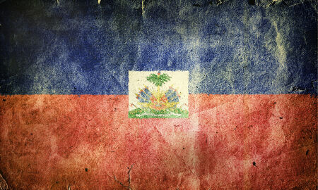creole: Flag of Haiti. Old vintage paper texture. Stock Photo