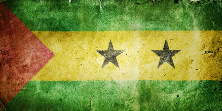 tome: Flag of Sao Tome and Principe. Old vintage paper texture.