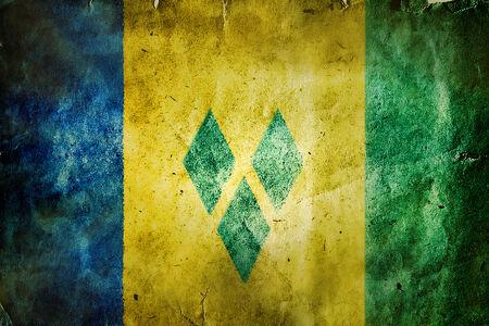 windward: flag of Saint Vincent and the Grenadines. Old vintage paper texture.