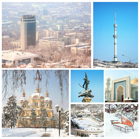 ice dam: Photo collage of different winter views of Almaty, Kazakhstan
