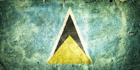 cerulean: flag of Saint Lucia. Old vintage paper texture.