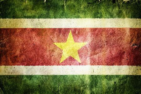 suriname: Flag of Suriname. Old vintage paper texture.