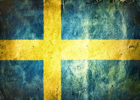scandinavian peninsula: flag of Sweden. Old vintage paper texture.
