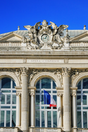 MONTPELLIER, FRANCE -MAY 27, 2014: National Opera theater of Montpellier. (Built in the Italian style in 1888 ) on May 27, 2014 in Montpellier, France