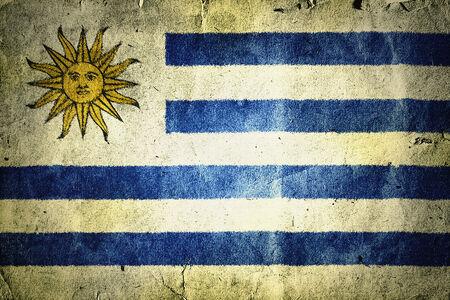flag of Urugua. Old vintage paper texture. Imagens