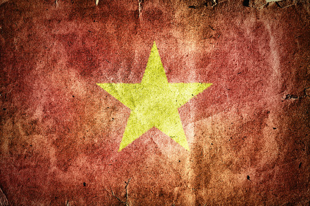 indochina peninsula: Flag of Vietnam. Old vintage paper texture.