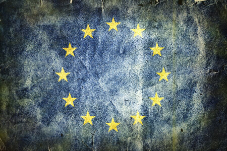 eec: Flag of the European Union . Old vintage paper texture.