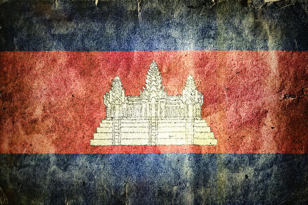 indochina peninsula: Flag of Cambodia. Old vintage paper texture.