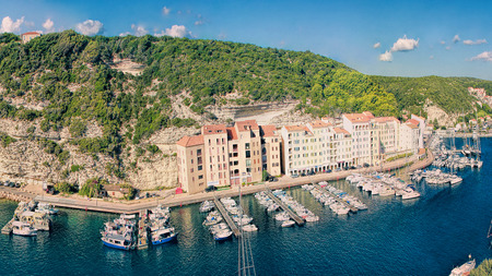 corse: BONIFACIO, CORSE, FRANCE - September 14, 2013: Panoramic view of the harborl of Bonifacio - Picturesque�Capital of Corsica, France Editorial