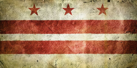 columbia district: flag of the District of Columbia. Old vintage paper texture. Stock Photo