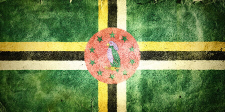 christopher columbus: flag of Dominica. Old vintage paper texture.