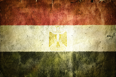 flag of Egypt. Old vintage paper texture. Stock Photo