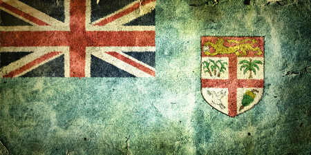 flag of Fiji . Old vintage paper texture. Stock Photo