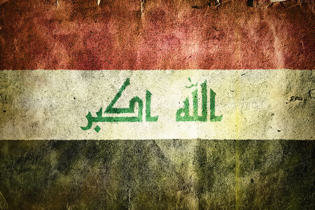 western asia: flag of Iraq. Old vintage paper texture.